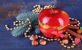 image of hazelnut tree  - Red apple stuffed with dried fruits with cinnamon - JPG