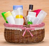 Wicker Basket Filled With Different Beauty Products