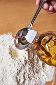 Still Life With Flour, Spoon And Sunflower Oil