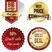 Set of four sales labels