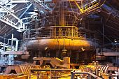foto of blast-furnace  - Blast furnace in workshop of metallurgical plant - JPG