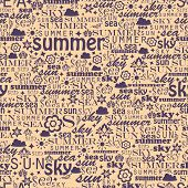 Abstract colorful image made from words which relate with summer
