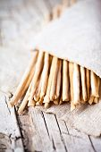 bread sticks grissini torinesi closeup on linen napkin