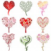 Set of trees in the form of heart, vector image.