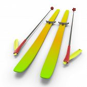 Colorful Skis And Sticks Close-up