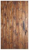 door handle on natural wooden door