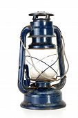 Metallic Blue Parafin Lamp With Misty Glass