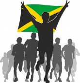 Athlete With The Jamaica Flag At The Finish.eps