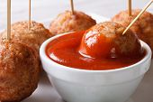 Roasted Meatballs On Skewers With Ketchup Closeup