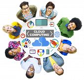 People Togetherness Global Communications Cloud Computing Concept