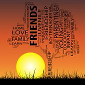 Concept or conceptual black education text word cloud or tagcloud as tree and grass isolated on sunset sky background