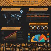 Passenger car, trucks, transportation infographics.  Vector illustration