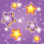 Cartoon Stars On A Purple Background
