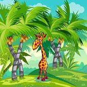 Children's illustration of the jungle with a giraffe.