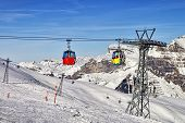 Cable Car Cabins On The Swiss Ski Resort Slope