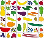 Vegetables Fruits Assortment White