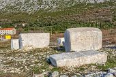 image of tombstone  - Stecak monumental medieval tombstones that lie scattered across Bosnia and Herzegovina - JPG