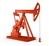 Red oil rig on isolated white