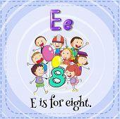 Illustration of a letter e is for eight