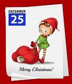 Illustration of a calendar on christmas day