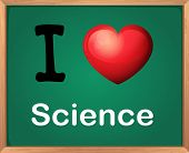 Illustration of i love science sign