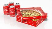 3D cola cans and pizza boxes isolated on white