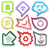 Ecology set. Paper stickers. Vector illustration.