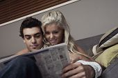 young couple on lounge