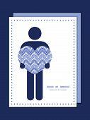 Vector purple drops chevron man in love silhouette frame pattern invitation greeting card template