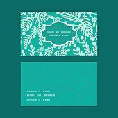 Vector emerald green plants horizontal frame pattern business cards set