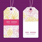 Vector flowers outlined vertical stripe frame pattern tags set
