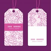 Vector pink flowers lineart vertical stripe frame pattern tags set
