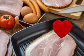 Heart In A Frying Pan For Love Or Heart Healthy Cooking Concept