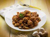 image of sauteed  - meatballs with sauteed mushroom - JPG