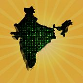 India sunburst map with hex code illustration