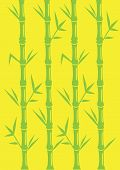 Minimalist Bamboo Vector Illustration On Bright Yellow Background
