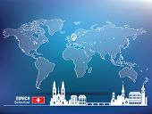 Map pin with Zurich skyline - vector illustration