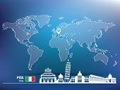 Map pin with Pisa skyline - vector illustration