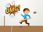 stock photo of little-league  - Cute little boy holding bat and running away from a red cricket ball with text OMG on pop art explosion - JPG