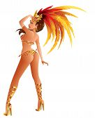 picture of beauty pageant  - A beautiful carnival girl wearing a festival costume is dancing - JPG