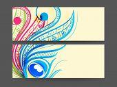 Colorful floral decorated Website header or banner set.