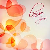 Beautiful love card design with shiny hearts and text Love You for Happy Valentines Day celebration.