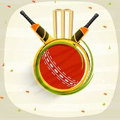 Cricket sports concept with shiny bats, red ball and wicket stumps on stylish background.
