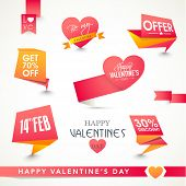 Set of shiny tags or labels design for Happy Valentines Day celebration.