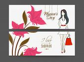 Women's day header or banner set with pink flowers, young lady holding hand bag. Shopping.