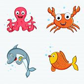 Set of colorful happy water animal characters like octopus, crab, dolphin and fish.