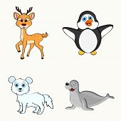 Set of cute happy winter animal or bird characters like reindeer, penguin, fox and seal on white background.