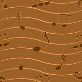 Musical notes in brown color on seamless background.