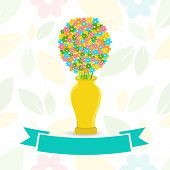 Colorful  flowers in yellow vase with green ribbon on seamless background.