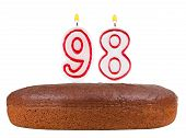 Birthday Cake Candles Number 98 Isolated